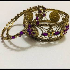 Jewelry - GOLD AND PURPLE BANGLES